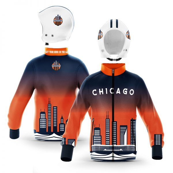 Chicago Navy Blue Orange Skyline Zip-Up