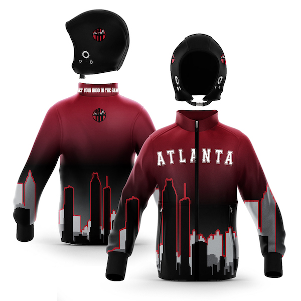 Atlanta Black Red Skyline Zip-Up