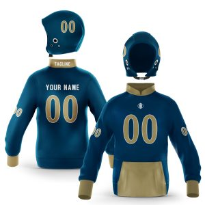 Miami Blue Gold Pullover Hoodie