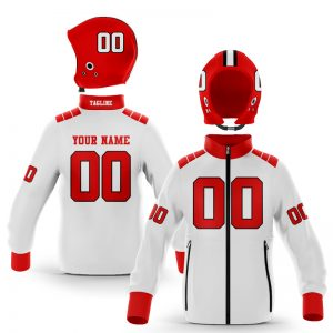Raleigh White Red Zip Up Hoodie